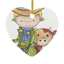 Maxou the cowboy ceramic ornament
