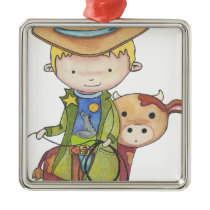 Maxou the cowboy metal ornament