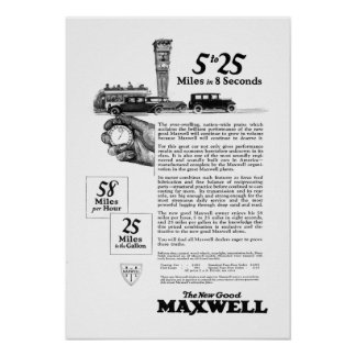 Maxwell Car 5 to 25 Made in New Castle, Indiana Poster