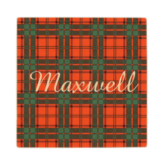 Maxwell clan Plaid Scottish tartan Wood Coaster