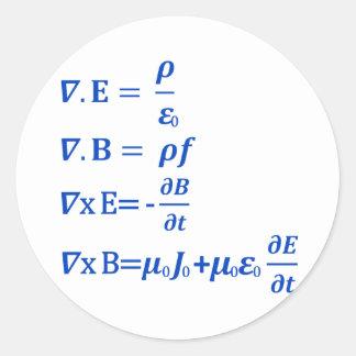 Maxwell Equation Classic Round Sticker