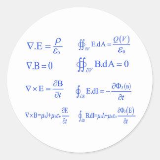maxwell physics equation classic round sticker