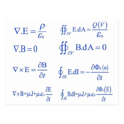 maxwell physics equation postcards