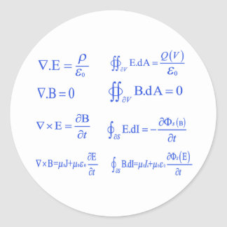 maxwell physics equation round sticker
