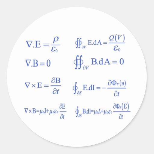 maxwell physics equation round sticker