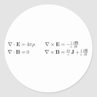 Maxwell s equations differential form cgs round stickers
