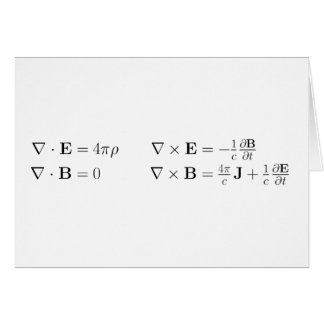 Maxwell's equations, differential form, cgs greeting card