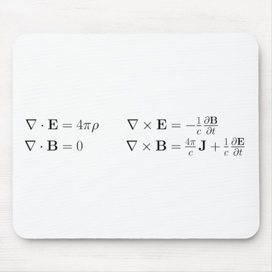 Maxwell's equations, differential form, cgs mouse pad