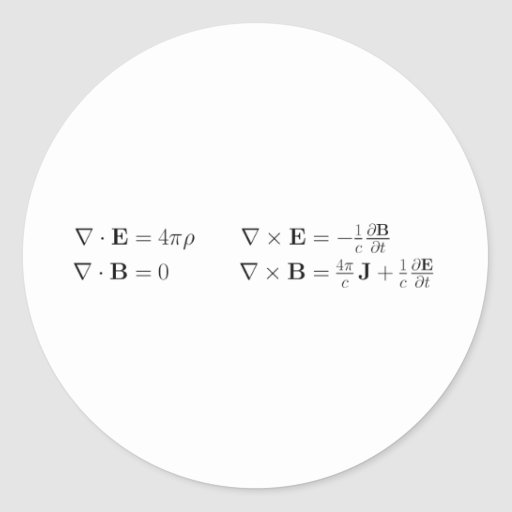 Maxwell's equations, differential form, cgs sticker
