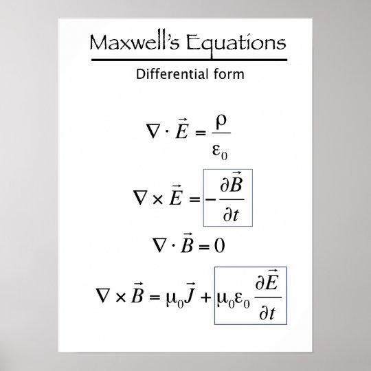 Maxwells Equations - Differential Form Poster | Zazzle.com