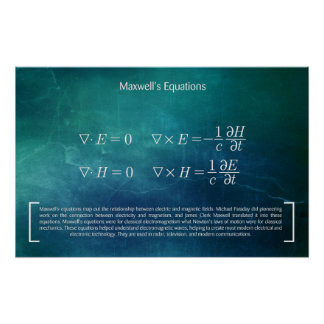 Maxwell's Equations - Math Poster