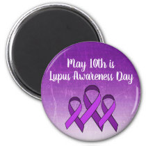 May 10th is Lupus Awareness Day Purple Ribbon Magnet