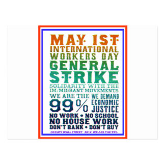 May 1st International Workers Day Occupy Wall St Postcard