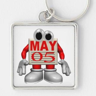 May 5th Silver-Colored square keychain