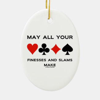 May All Your Finesses And Slams Make (Bridge) Double-Sided Oval Ceramic Christmas Ornament