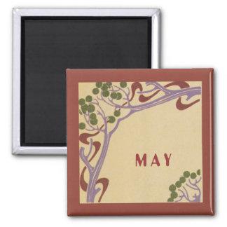 May Art Nouveau Square Magnet by Janz