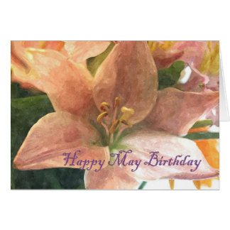May Birth Flower Lily Card