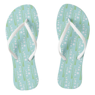 May Birth Flower Lily of the Valley Floral Pattern Flip Flops