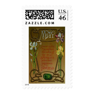 May Birthday Emerald and Irises Stamps