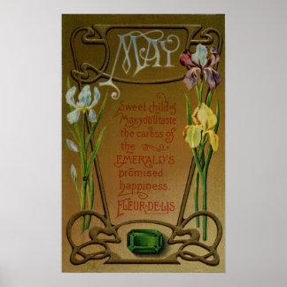 May Birthday Emerald and Irises Poster