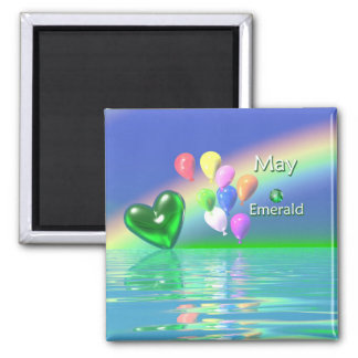 May Birthday Emerald Heart 2 Inch Square Magnet