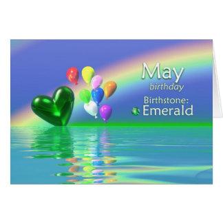 May Birthday Emerald Heart Greeting Cards