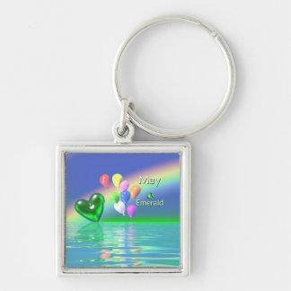 May Birthday Emerald Heart Keychain