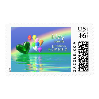 May Birthday Emerald Heart Stamps
