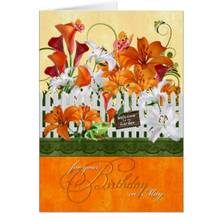 May Birthday Lily Garden Butterflies & Frog Card