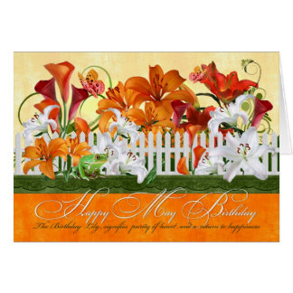 May Birthday Lily Garden Butterflies & Frog Greeting Card