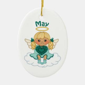 May Birthstone Angel Blonde Ceramic Ornament