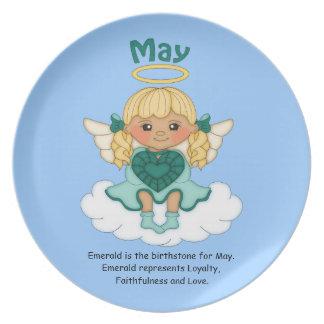 May Birthstone Angel Blonde Melamine Plate