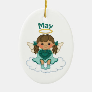 May Birthstone Angel Brunette Ceramic Ornament