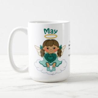 May Birthstone Angel Brunette Coffee Mug