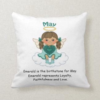 May Birthstone Angel Brunette Throw Pillow