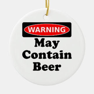 May Contain Beer Double-Sided Ceramic Round Christmas Ornament