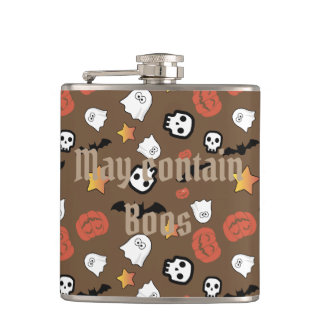 May Contain Boos//Halloween Pattern Flask