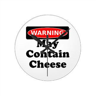 May Contain Cheese Round Wall Clocks