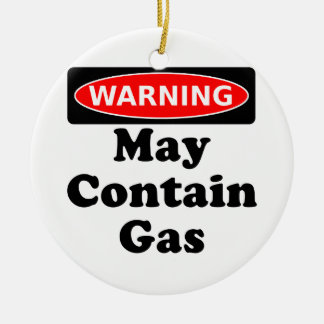 May Contain Gas Double-Sided Ceramic Round Christmas Ornament