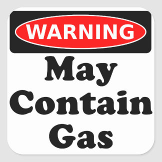 May Contain Gas Square Sticker