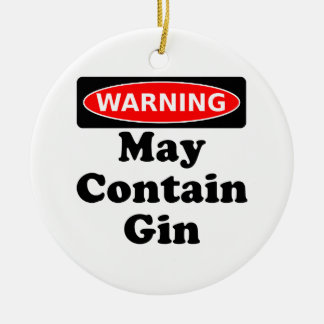 May Contain Gin Double-Sided Ceramic Round Christmas Ornament