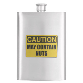 May Contain Nuts Funny Flask