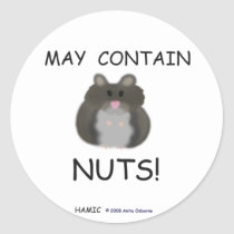 May Contain Nuts Winter White Hamster Classic Round Sticker
