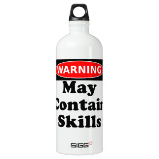 May Contain Skills Aluminum Water Bottle