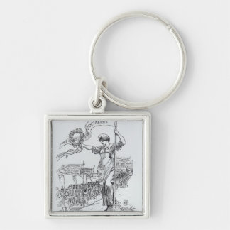 May Day, 1907 Silver-Colored Square Keychain