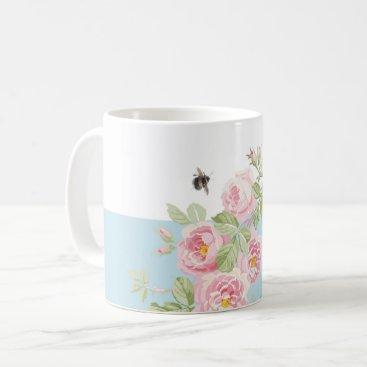 Coffee Themed May Day Summer Roses Aqua Stripe Coffee Mug