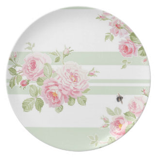 May Day Summer Roses basil stripe picnic plate