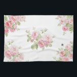 "May Day Summer Roses bleached Linen Towel<br><div class=""desc"">A summery,  feminine yet thoroughly modern,  vibrant and cottage chic rose and bee print on a bleached linen white background.</div>"