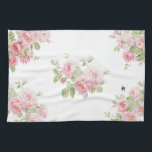 """May Day Summer Roses bleached Linen Towel<br><div class=""""desc"""">A summery,  feminine yet thoroughly modern,  vibrant and cottage chic rose and bee print on a bleached linen white background.</div>"""