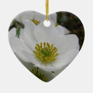 May Flower, Anemone narcissiflora Ceramic Ornament
